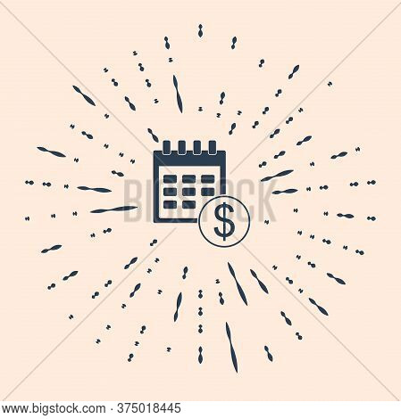 Black Financial Calendar Icon Isolated On Beige Background. Annual Payment Day, Monthly Budget Plann