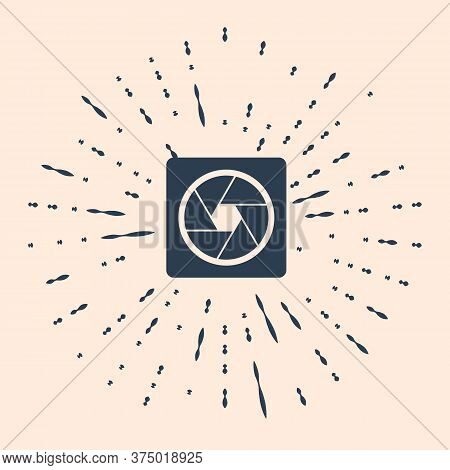 Black Camera Shutter Icon Isolated On Beige Background. Abstract Circle Random Dots Illustration