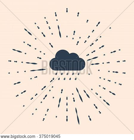 Black Cloud With Rain Icon Isolated On Beige Background. Rain Nimbus Cloud Precipitation With Rain D