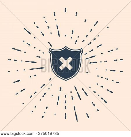 Black Shield And Cross X Mark Icon Isolated On Beige Background. Denied Disapproved Sign. Protection
