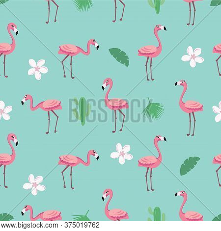 Flamingo Pattern - Trendy Seamless Pattern In Flat Style With Flamingos, Tropical Flowers, Leaves An