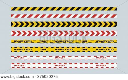 A Set Of Two-color Fence Tapes. Yellow And Black Tape For The Police, Red And White Tape For Public