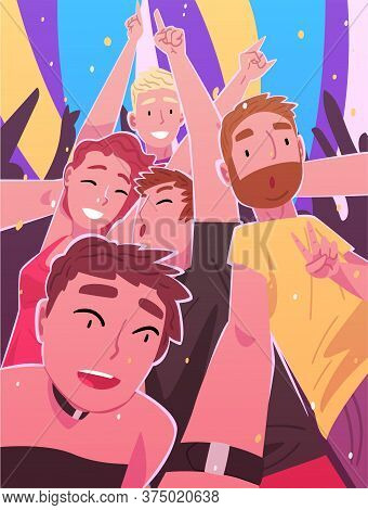 People Dancing And Making Selfie In Nightclub, Happy Men And Women Having Fun At Party Or Music Fest