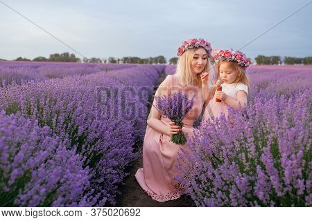 Mom And Daughter Play And Frolic In A Lavender Field