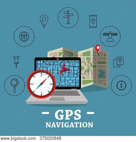 Laptop With Gps Navigation Software Vector Illustration Design
