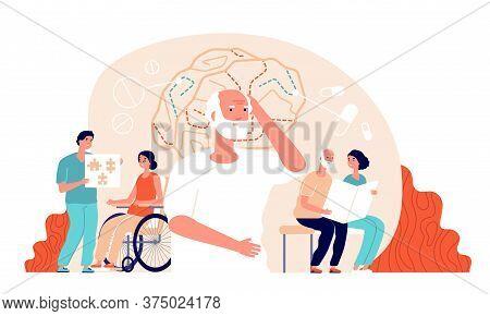 Alzheimer Disease. Illness Neurology Therapy. Elderly Loss Memory, Brain Treatment. Senior Patient M