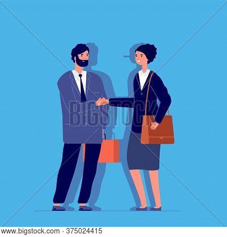 Woman Liar. Long Nose, Business Fraud Metaphor. Female Cheat Fake Smile And Handshake. Flat Partners