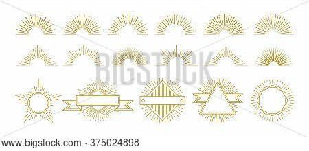 Vintage Gold Sunburst. Circle Lines Decorations, Sunrise Graphic Elements. Hipster Sunburst Icons. I