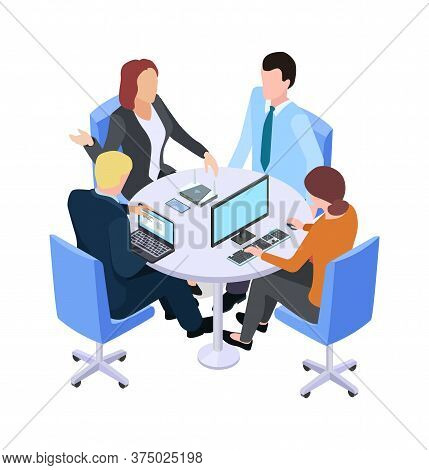 Teamwork. Isometric Business Meeting, People Talking About Project At Table Or Working Process. Brai