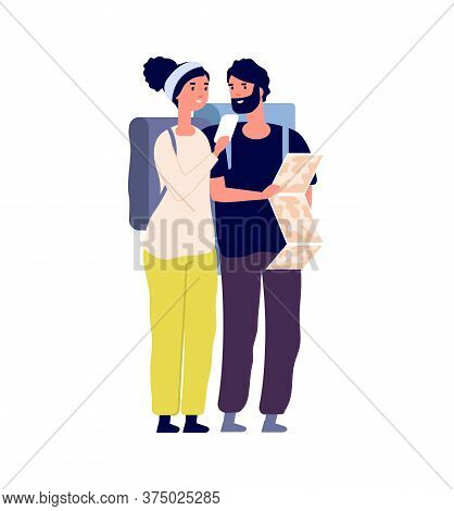 Tourists With Map. Happy Traveler Find Road Or Travel Trip. Flat Man Woman With Backpacks, Couple Hi