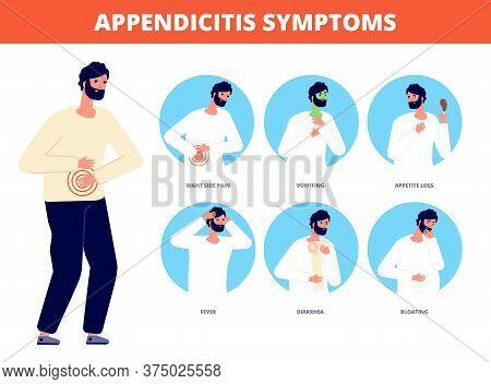 Appendicitis Symptoms. Abdominal Pain Disease, Diarrhea Nausea Vomiting. Stomach Gastric Spasms Coli
