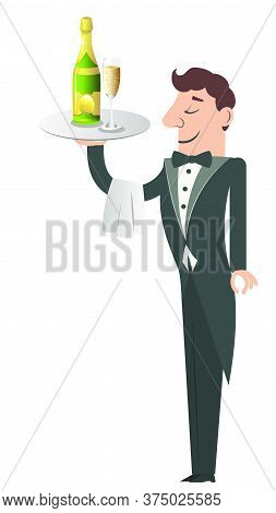 Cartoon Servant With Bottle And Glass Of Champagne On Tray.