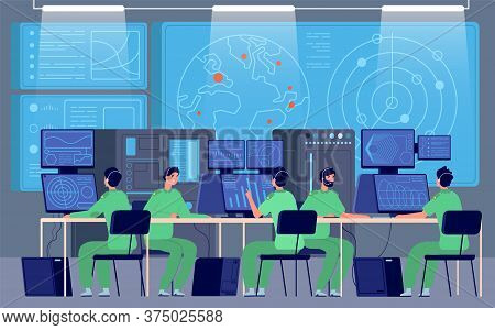 Government Control Center. Command Room, Engineers Controlling Military Mission. Security Station, C