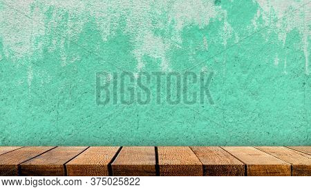 Wooden Display Board Shelf Table Counter With Copy Space For Advertising Backdrop And Background Wit