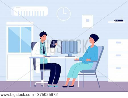 Pregnant Woman And Doctor. Gynecologist Clinic Office, Pregnancy Patient Consulting In Gynecology. P