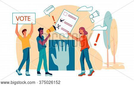 People Voting - Democracy And Social Political Rights Flat Cartoon Illustration.
