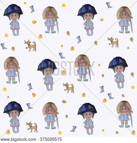 Seamless Pattern. Watercolor Kids Cute Illustration. Blonde And Brunette Girls With An Umbrella And