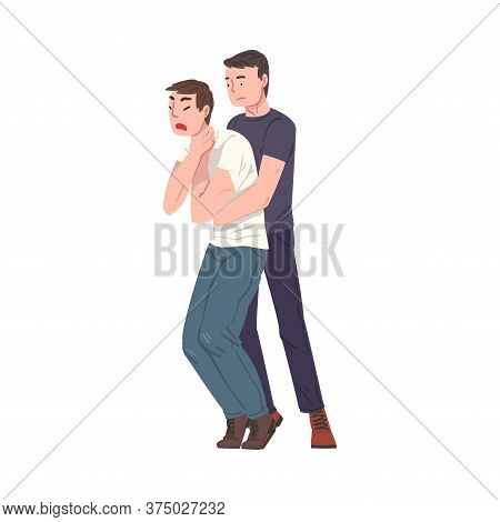 Young Man Saving Life Of Man Performing Abdominal Thrusts, First Aid To Choking Person Vector Illust