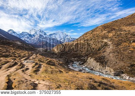 Bhote River Valley. Nepal, Himalayan Mountains
