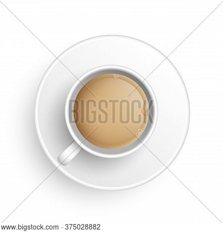 Realistic 3d Cup Of Hot Aromatic Freshly Brewed Indian Masala Black Tea With Milk. A Teacup With Sau