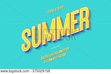Vector Fun Summer Font 3d Bold Color Style Modern Typography For Decoration, Logo, Poster, T Shirt,