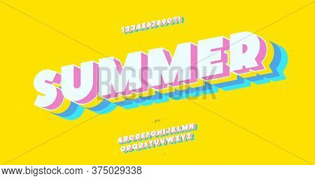 Vector Summer Font 3d Bold Color Style Modern Typography For Decoration, Logo, Poster, T Shirt, Book
