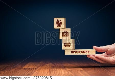 Insurance Balance Concept. Insurance Agent Offer Insurance Of Family And Life, Health And Car.