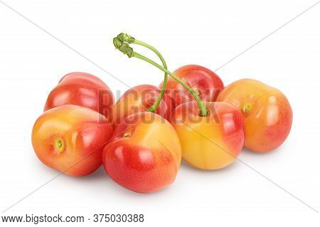 Yellow-red Sweet Cherry Isolated On White Background With Clipping Path And Full Depth Of Field