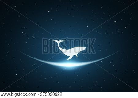 Lonely Whale In Space. Vector Conceptual Illustration With White Silhouette Of Endangered Animal And