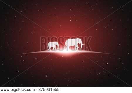 Elephant Family Walk In Space. Vector Conceptual Illustration With White Silhouette Of Endangered An
