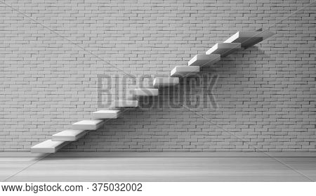 3d Stairs, White Staircase On Brick Wall Background. Architecture Ladder Construction For Building I