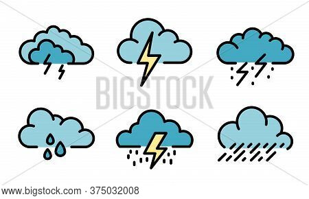 Thunderstorm Icons Set. Outline Set Of Thunderstorm Vector Icons Thin Line Color Flat On White