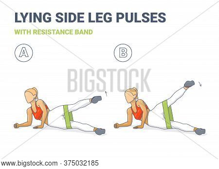 Lying Side Leg Raises Or Pulses With Resistance Band Exercise Illustration. Colorful Concept Of Girl