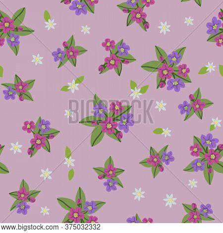 Forest Vector Seamless Pattern In The Kind Of Flowers. Lilac And Purple Flowers Of The Lungwort And