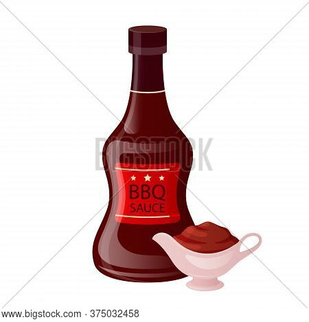 Barbecue Sauce In Bottle With Bowl Cup. Bbq Condiment In Sauceboat In Cartoon Style. Fast Food Packa