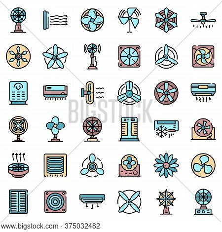 Ventilator Icons Set. Outline Set Of Ventilator Vector Icons Thin Line Color Flat On White