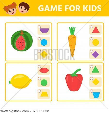 Educational Worksheet For Children. Game For Kids. Match Of Geometric Figures And Objects. Triangle,