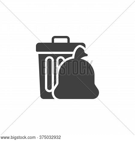 Trash Bag And Garbage Bin Vector Icon. Filled Flat Sign For Mobile Concept And Web Design. Recycle B