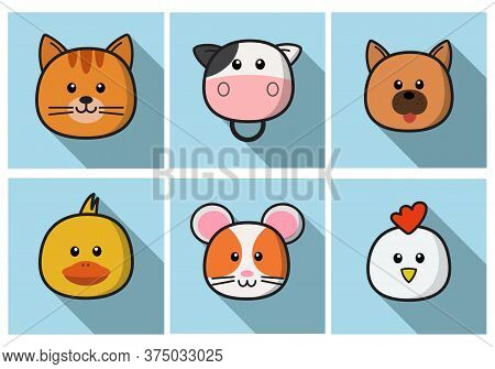 Set Of Cute Cartoon Animals Face Isolated . Vector Flat Design Illustration From Front. Suitable For