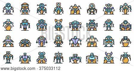 Robot-transformer Icons Set. Outline Set Of Robot-transformer Vector Icons Thin Line Color Flat On W