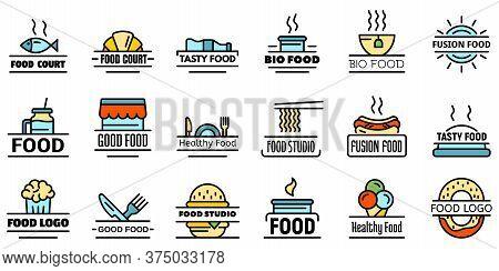 Food Courts Breakfast Logo Set. Outline Set Of Food Courts Breakfast Vector Logo Thin Line Color Fla
