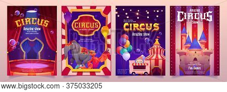 Carnival Funfair Flyers. Circus Performance Posters With Elephant On Ball, Tent And Food Cart. Vecto