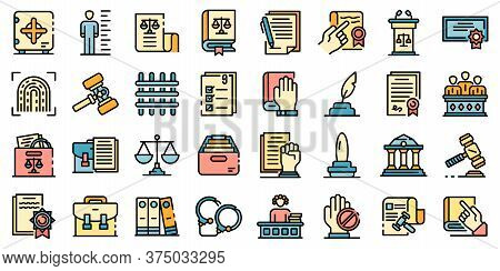 Legislation Icons Set. Outline Set Of Legislation Vector Icons Thin Line Color Flat On White