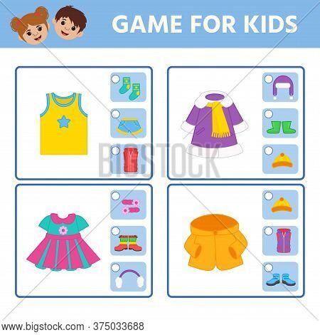 Educational Worksheet For Children. Game For Kids. Find Matching Item. Clothes. Activity Worksheet F