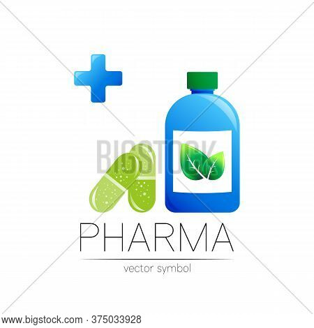 Pharmacy Vector Symbol With Blue Bottle And Cross In Circle, Green Leaf, For Pharmacist, Pharma Stor