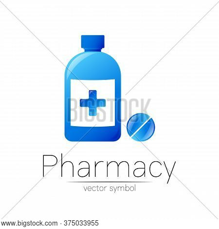 Pharmacy Vector Symbol Of Blue Bottle With Cross And Pill Tablet For Pharmacist, Pharma Store, Docto