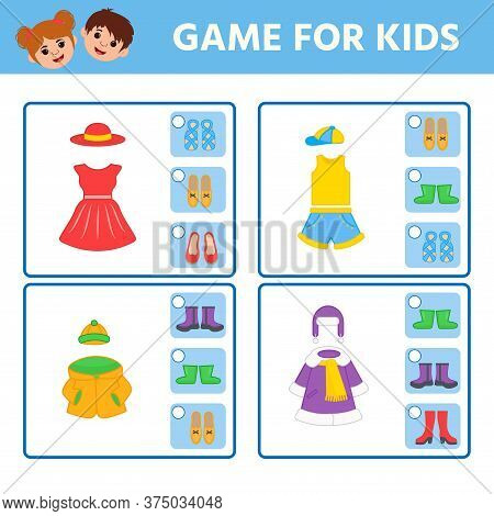Educational Worksheet For Children. Game For Kids. Find Matching Item. Clothes And Shoes. Activity W