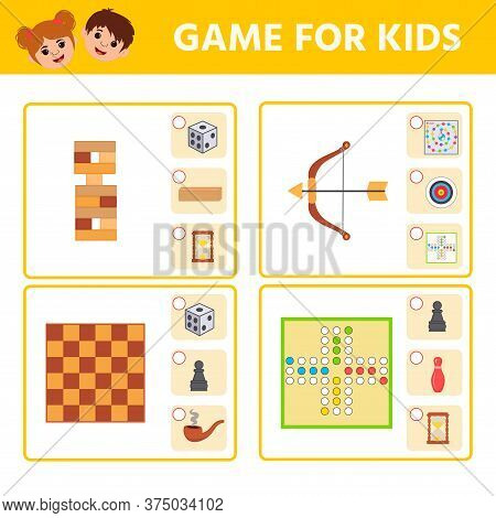 Educational Worksheet For Children. Game For Kids. Find Matching Item. Active Board Games. Activity