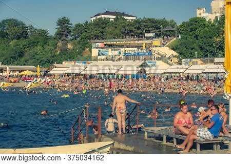 Anapa, Russia, August, 07, 2015. A Lot Of People On The City Beach Of The Black Sea In Anapa