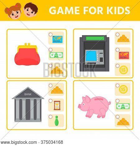 Educational Worksheet For Children. Game For Kids. Find Matching Item. Money. Activity Worksheet For